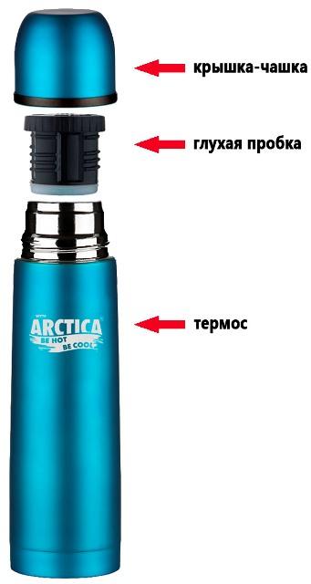 Термос Арктика 103 серии - крышка-чашка, глухая пробка, термос