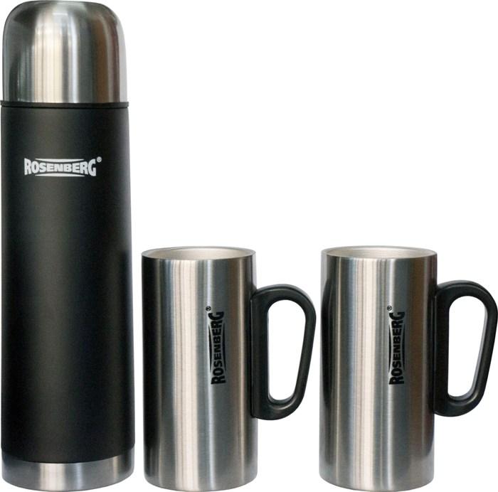 Подарочный набор Rosenberg термос 500 мл и две кружки по 250 мл - приятный вид
