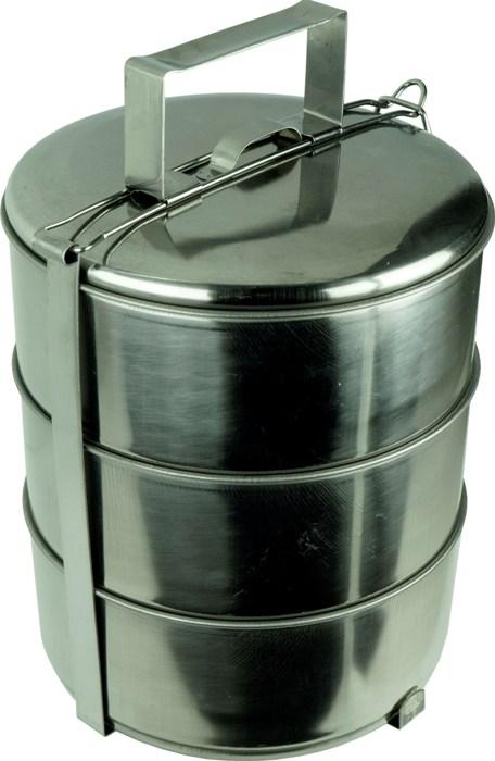 Трёхсекционный ланчбокс из нержавеющей стали 3,3 литра - удобная форма