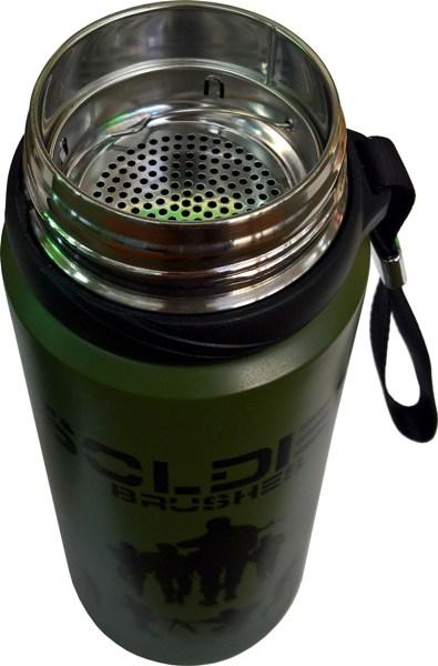 Термос для напитков Steel Soldier 800 мл - стальное горло и сито
