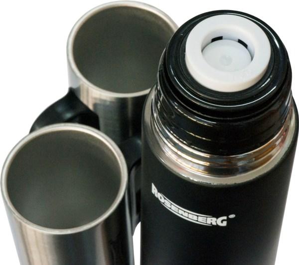 Подарочный набор Rosenberg термос 500 мл и две кружки по 250 мл - пробка с кнопкой