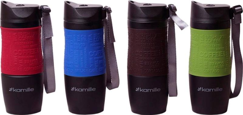 Чёрная термокружка с кнопкой Kamille - варианты цвета