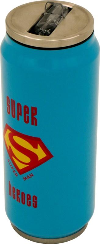 Термобанка с трубочкой Steel Super Heroes 400 мл - удобная форма