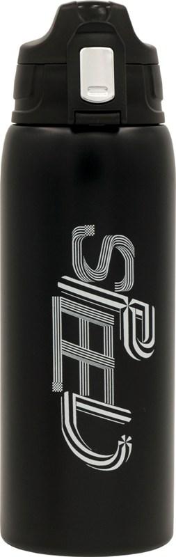 Термос из нержавеющей стали питьевой Speed 750 мл в чехле - чёрный цвет