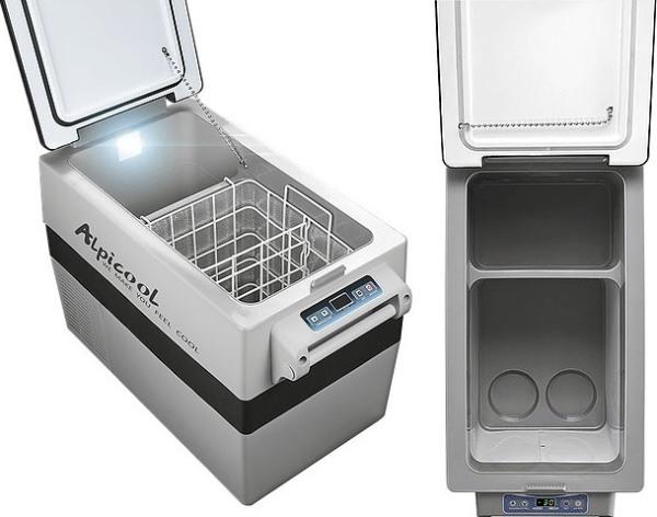 Компрессорный автомобильный холодильник Alpicool CF35 - внутренняя раздельная ёмкость