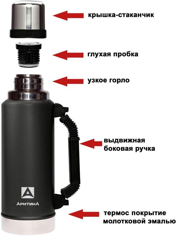 Термос для напитков Арктика серии 106-1250P - крышка, пробка, термос