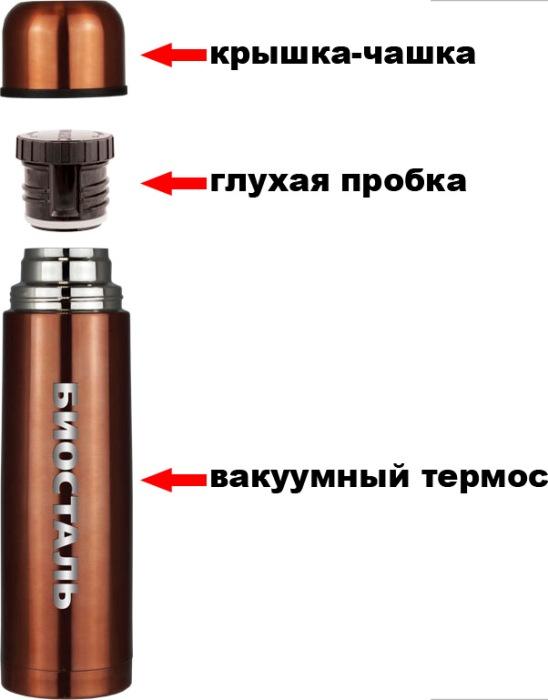 Цветной термос Biostal Биосталь NB 1 литр из нержавеющей стали - крышка-чашка, глухая пробка, термос