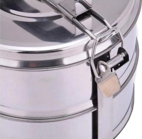 Многосекционный термо-ланчбокс из нержавеющей стали для еды 1,4 и 2,1 литра - защёлка на каркасе