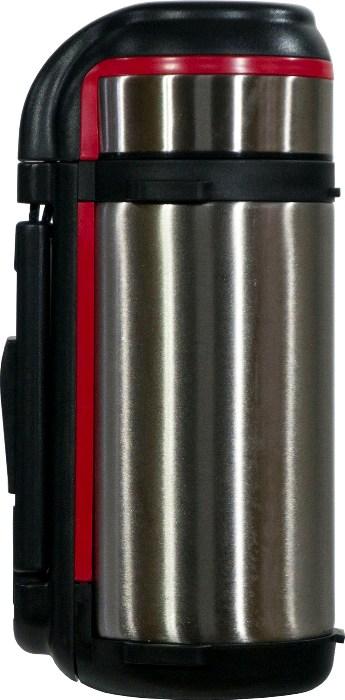 Термос для напитков Steel Red Line с кнопкой - удобная форма