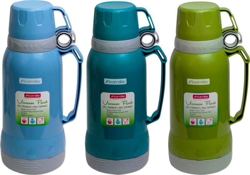 Термос со стеклянной колбой Kamille 1 и 1,8 литра - три цвета