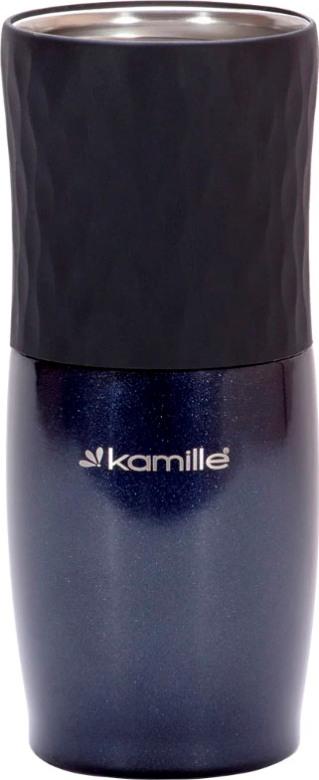 Термокружка с кнопкой Kamille dark 500 мл - стальное горло и силиконовая вставка
