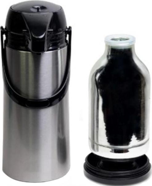 Термос стеклянный DayDays с помпой 1,9 литра - стеклянная колба