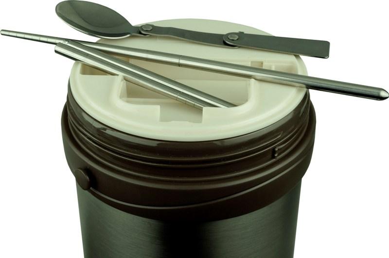Термос Steel Food HM 2,3 литра с тремя контейнерами для еды - широкое горло
