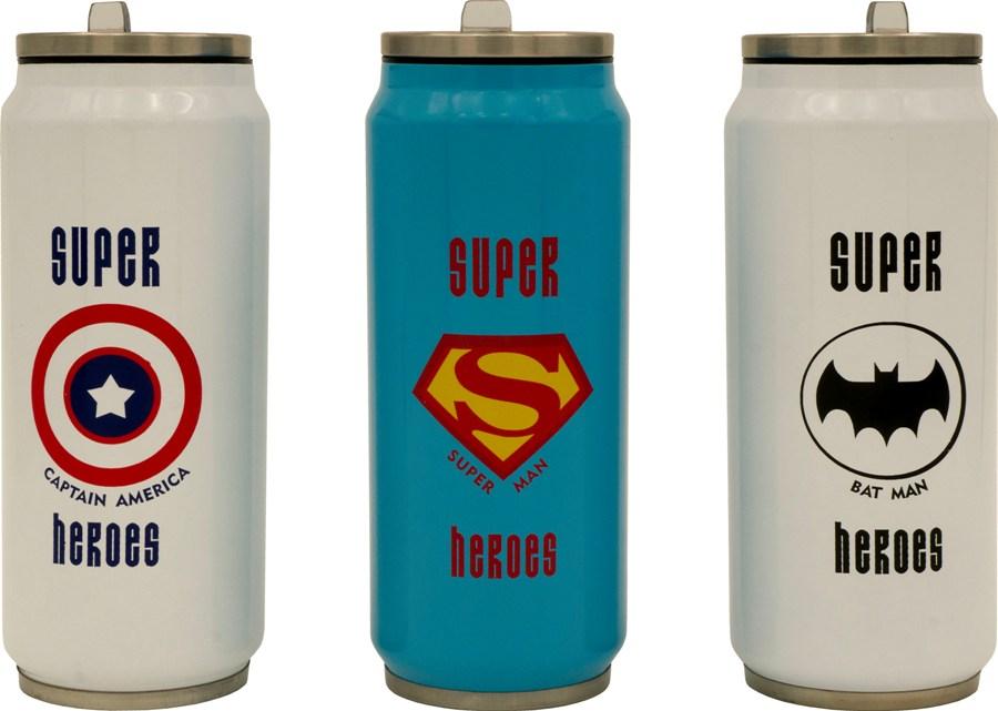 Термобанка с трубочкой Steel Super Heroes 400 мл - варианты рисунка и цвета